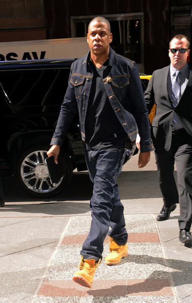 Jay-Z-wearing-denim-Jean-jacket-Billionaire-Boys-Club-Icecream-V-Neck-black-t-shirt-timberlands